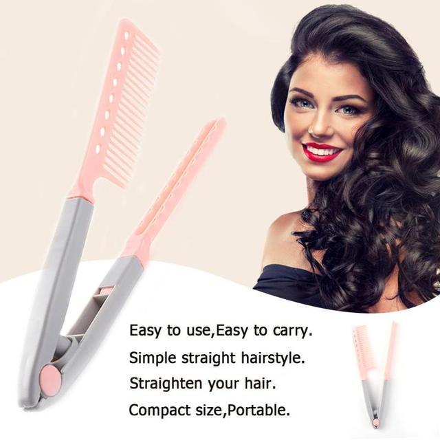 נייד מחליק שיער מסרק V סוג שיער מחליק מסרק מתקפל DIY עיצוב שיער קליפ כלי