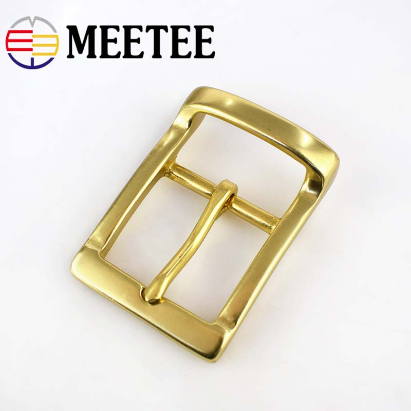 Meetee 40mm Width Men pure brass belt buckle head needle pants copper lead DIY Belt Buckles Leather accessories for 38 39mm Belt in Buckles Hooks from Home Garden