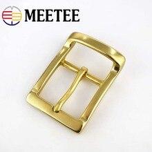 Meetee 40mm Width Men pure brass belt buckle head needle pants copper lead DIY Belt Buckles Leather accessories for 38-39mm Belt стоимость
