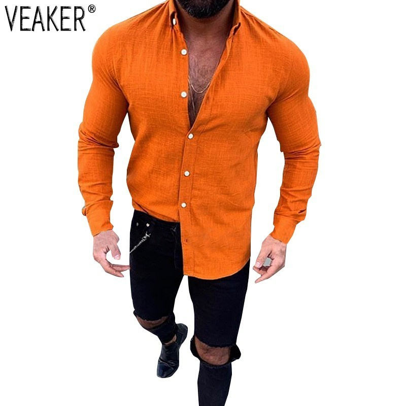 2019 New Men's Slim Fit Linen Shirts Male Sexy V Neck Cotton Linen Shirt Tops Solid Color Long Sleeve Flax Shirts M-3XL