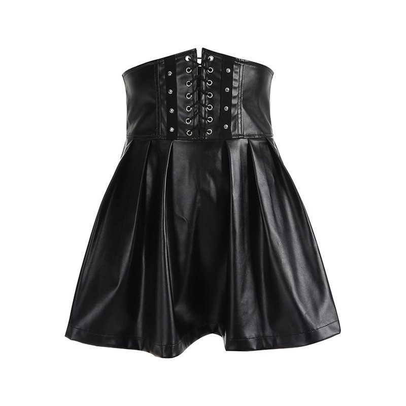 Women Pleated Skirt PU Leather Goth Lace Up Black Street Hipster Zipper Autumn Winter Casual High Waist Bandage Sexy Mini Skirts