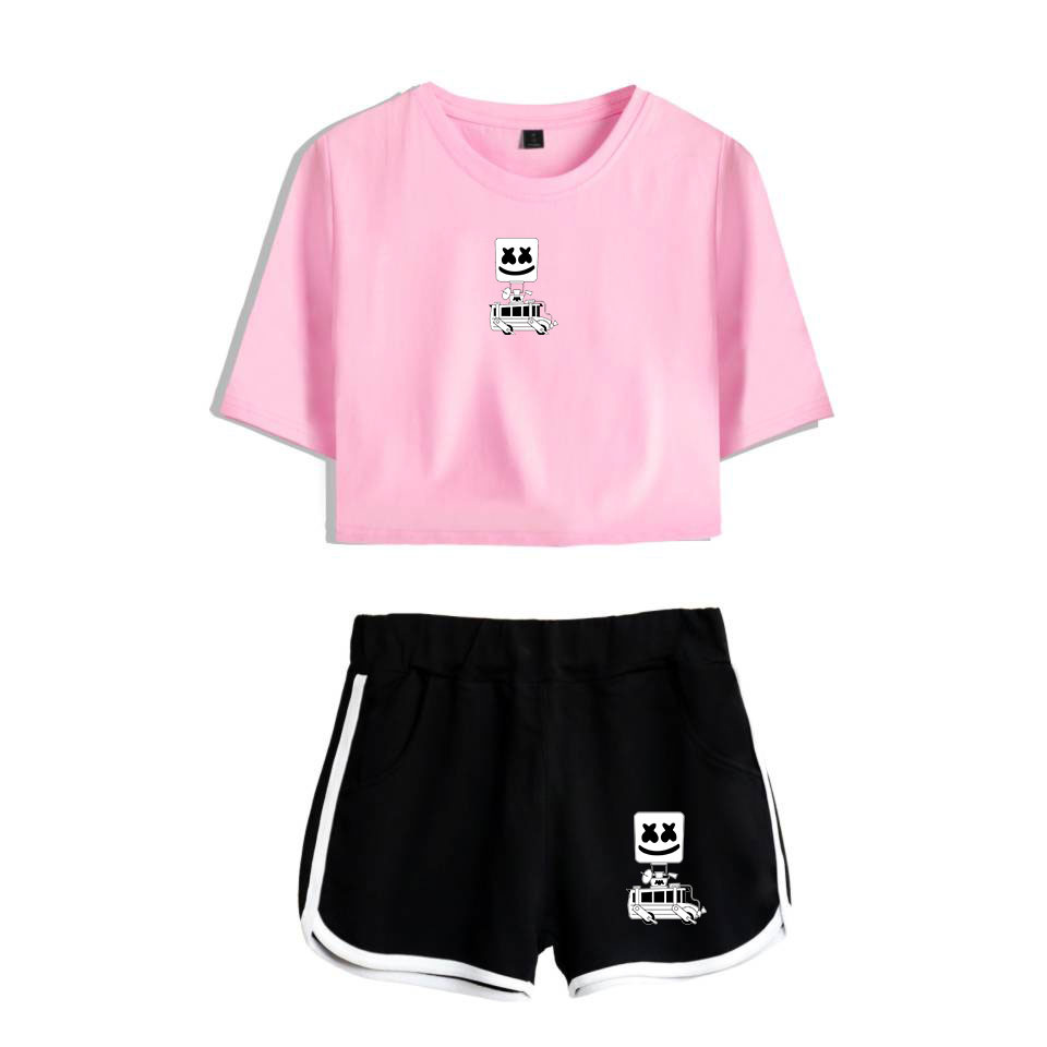 DJ marshmello 2 Piece Set Women Tracksuit Summer Harajuku Hip Hop Sexy Crop Tops + Shorts matching sets Two Piece Outfits