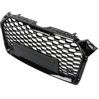 For RS5 Style Front Bumper Grille Sport Hex Mesh Honeycomb Hood Grill Black for Audi A5/S5 B9 17 18 Car Accessories