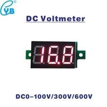 Dc 0-100 v 300 v 600 v led digital voltímetro medidor de tensão volt instrumento ferramenta de 3 fios display vermelho dc volt painel medidor de volt monitor