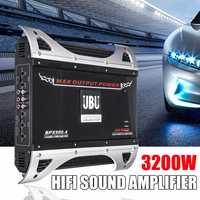 3200 Вт 12 В 4 канала Автомобильный усилитель аудио стерео бас динамик 4 способа высокой мощности автомобиля аудио Мощность Разъем усилитель са
