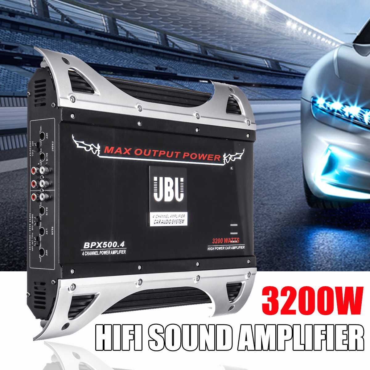 3200W 12V 4 Channel Car Amplifier Audio Stereo Bass Speaker 4 Way High Power Vehicle Car Audio Power Amplifier Subwoofer
