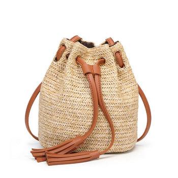 2019 New Beach Solid String Mini Bucket Bags Female Summer Knitting Straw Bags Sweet Hot Casual Holiday Crossbody Bag Handbags