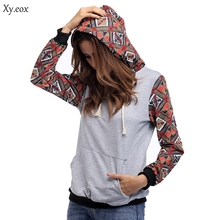 Women's Bohemia Plaid Panel Long Sleeve Hoodies Sweatershirts Jacket Female Top Casual Spring and Autumn Jacket Pullover sweater