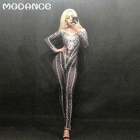 New Woman Full Sparkling Rhinestones Crystals Black Dj Jumpsuit Nightclub Birthday Party Stage Wear Dancer Singer Outfit