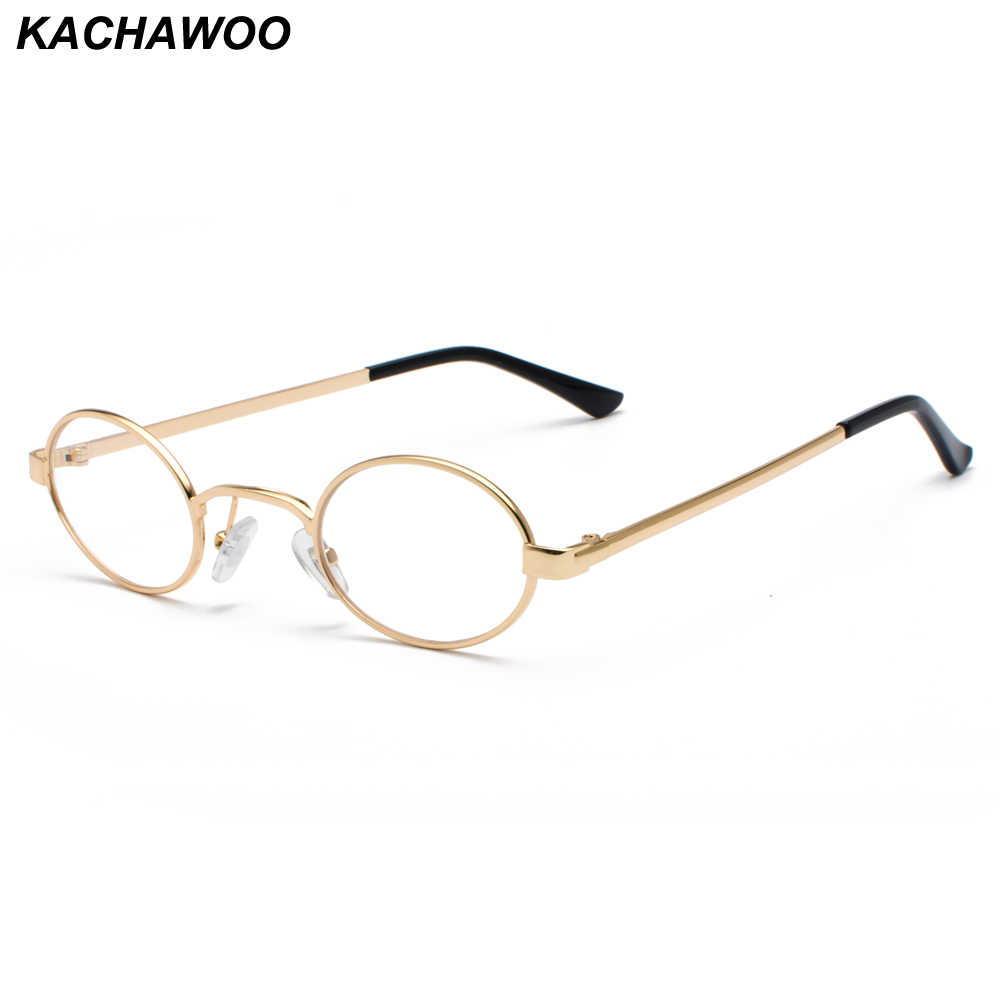 a55f639c7e Kachawoo Vintage Eyeglasses Men Tiny Oval Metal Retro Glasses Frame Women Small  Round Decoration Accessories Dropshipping