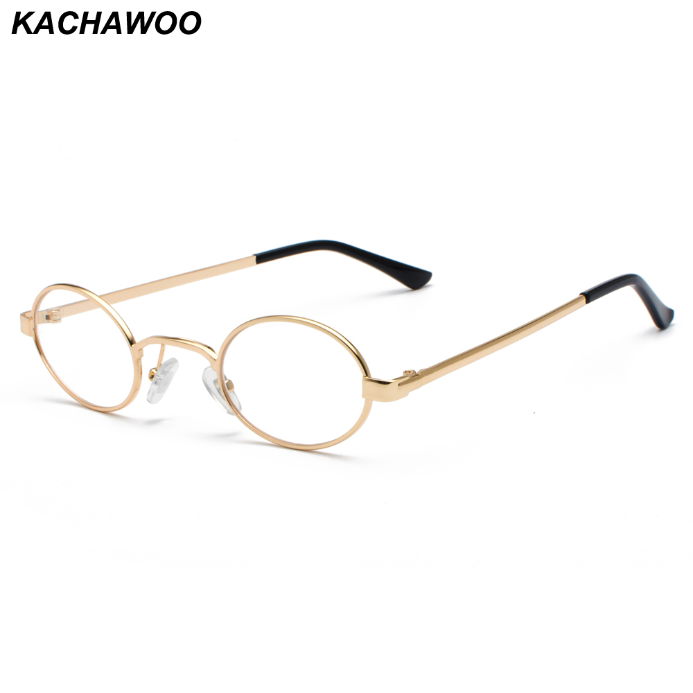 Kachawoo Vintage Eyeglasses Men Tiny Oval Metal Retro Glasses Frame Women Small Round Decoration Accessories