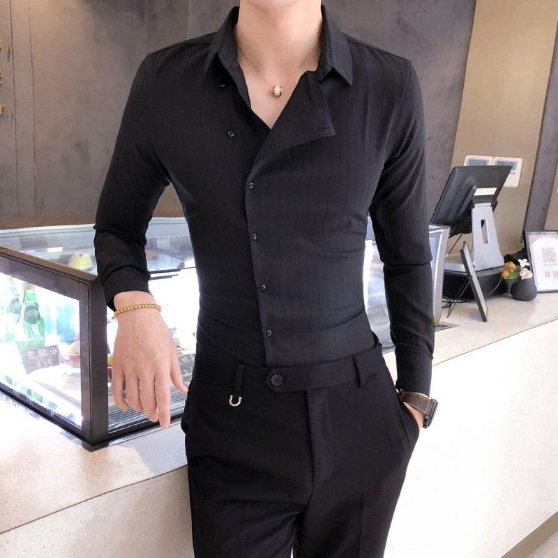 High Quality Solid Color Shirt Dress Brand New Slim Fit Men Shirt Solid  Long Sleeve Shirts Men Camisa Masculina Tuxedo Clothes 2