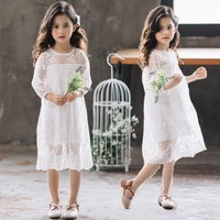 Lace Floral Autumn Girls Dress With Sleeve Spring Summer Kids White Party Princess Dresses Girl Teenage Children Clothing 2019
