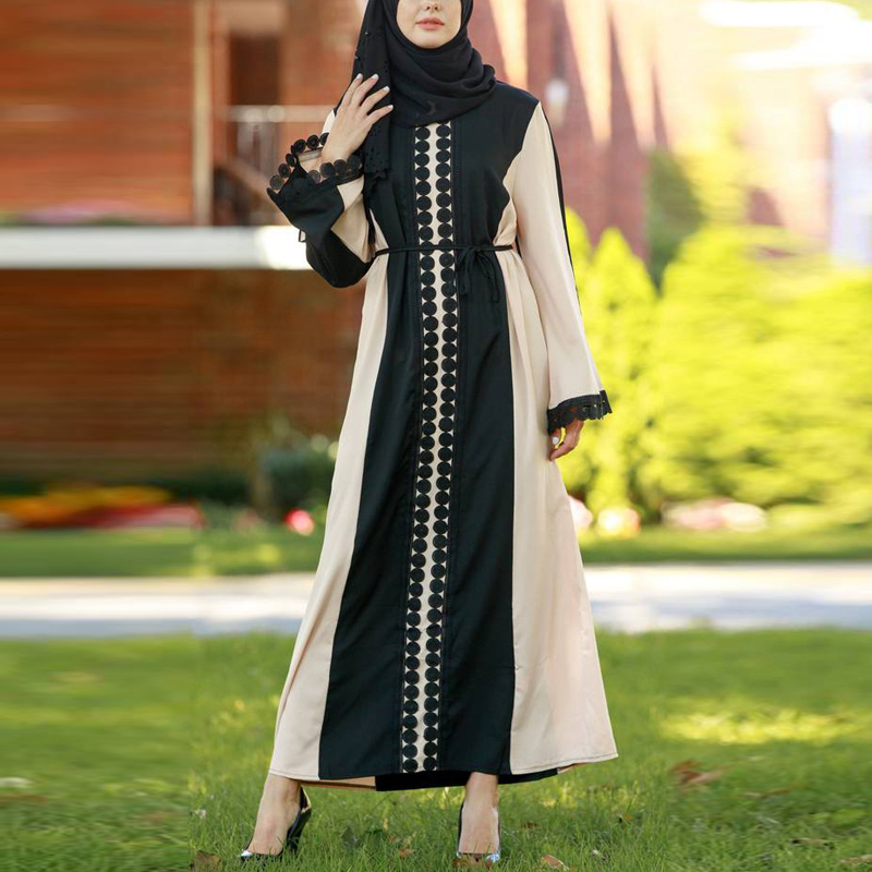 Fashion Muslim Women's Lace Abaya Maxi Dress Cardigan Full-length Long Robe Gowns Tunic Kimono Jubah Ramadan Muslim Hijab Dres