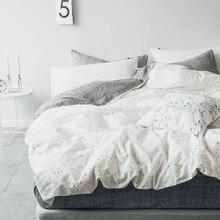 simple 100% cotton The Nordic White squares stripes Leopard grain duvet cover pillowcase 3pcs black and white bedding set twin