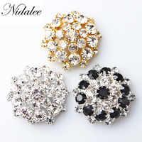 37mm 1 1/2 Big size New Shank Rhinestone Embellishments Diy Decoration Metal Diamante Button Crafts for clothing-37mm,5pcs