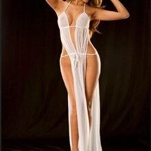 Женское кружевное сексуальное нижнее белье с глубоким v-образным вырезом, ночное белье, длинное платье для сна