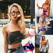 e6747541fe6 2019 Women Camo Pleat Boob Tube Sleeveless Bandeau Stretch Vest Bra Crop Top  Tank Girl Dance