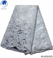 BEAUTIFICAL french organza laces fabrics 2019 nigerian lace fabrics with sequins organza laces dress with beads 5yards ML4O83
