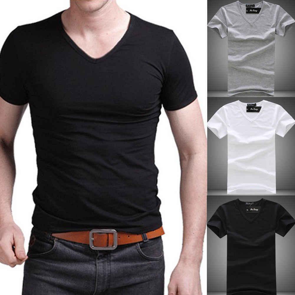2019 夏ホット販売 Tシャツ新メンズ V ネックトップス Tシャツスリムフィット半袖固体色カジュアル Tシャツ