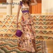 TWOTWINSTYLE платье на бретелях с принтом женское без рукавов с высокой талией в пол Плиссированное Платье женское летнее повседневное Модное Новое
