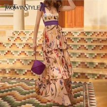 TWOTWINSTYLE Print Strap Dresses Women Sleeveless High Waist Floor Length Pleated Dress Female 2019 Summer Casual Fashion New(China)