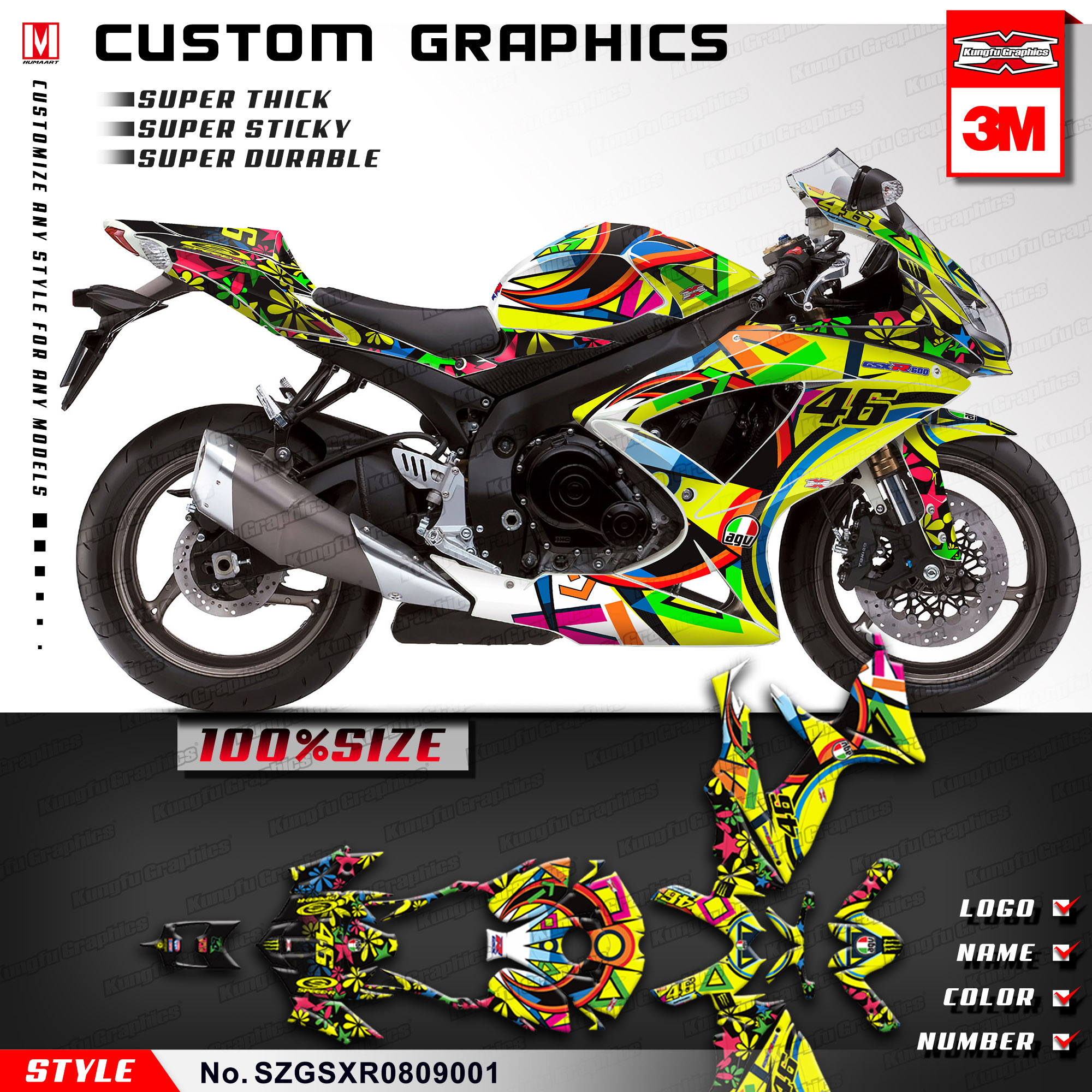 Kungfu Graphics Full Vinyl Wrap Motorcycle Custom Vinyl