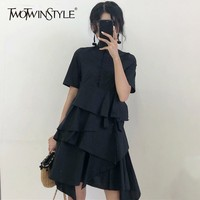 TWOTWINSTYLE Irregular Ruffles Shirt Dress Female Short Sleeve Stand Collar Black Mini Dresses For Women 2018 Summer Clothes New