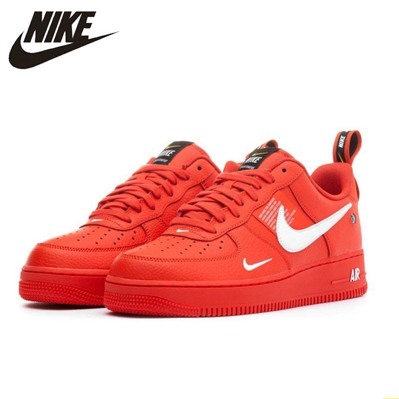 Nike Air Force1 AF1 Original Men Skateboarding Shoes Bright Red Deconstruction Simple Version Leisure Time Sneakers #AJ7747 800