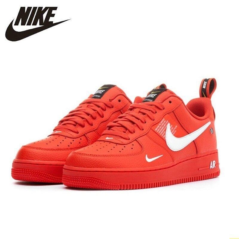 Nike Air Force1 AF1 Original hommes chaussures de skateboard rouge vif déconstruction Version Simple loisirs temps baskets # AJ7747-800