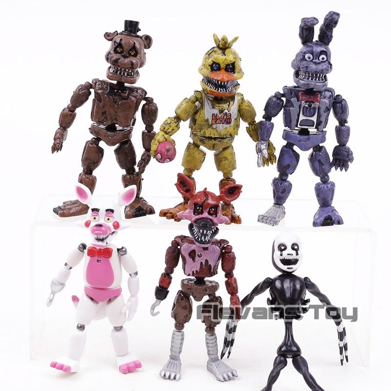 FNAF Five Nights At Freddy's Freddy Bonnie Foxy Freddy Fazbear Bear PVC Action Figures Toys 6pcs/set