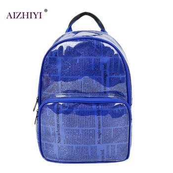 75de089a6 Unisex periódico impresión lona PVC Mochila de viaje de estudiantes mochilas  para chicas adolescentes niños de moda bolsos de hombro Mochila