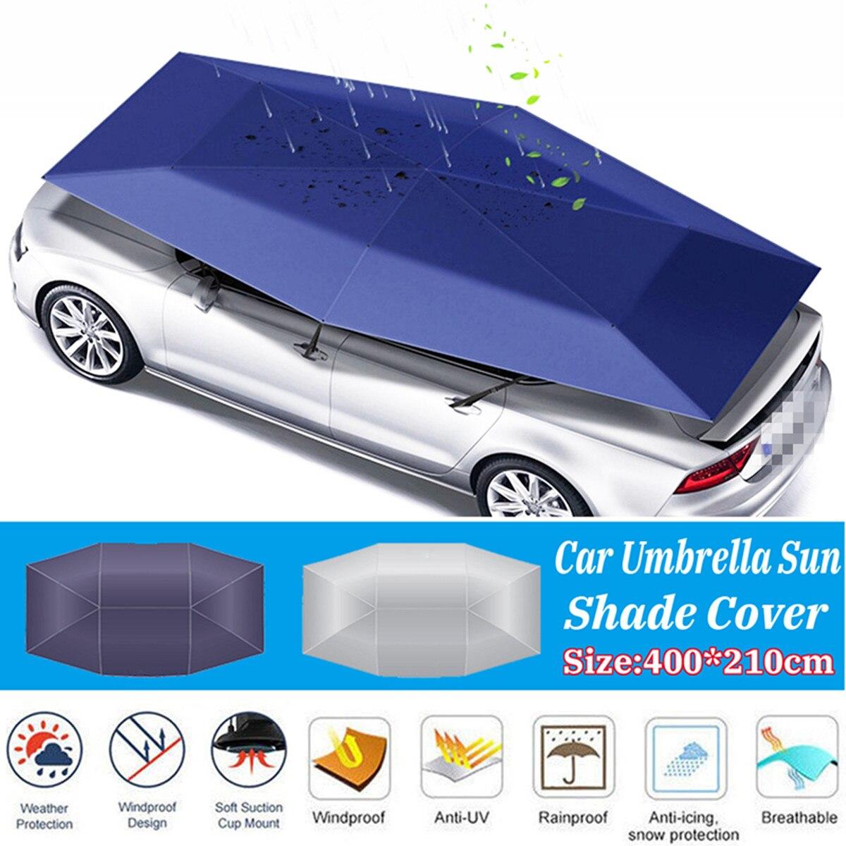 Voiture parapluie soleil ombre couverture extérieure voiture véhicule tente Oxford tissu Polyester couvre 400x210 cm bleu/argent sans support - 2