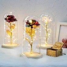 Горячая Распродажа года: красная роза с золотым покрытием в виде красавицы и чудовища со светодиодной подсветкой в стеклянном куполе, подарок на день матери, подарок на день Святого Валентина