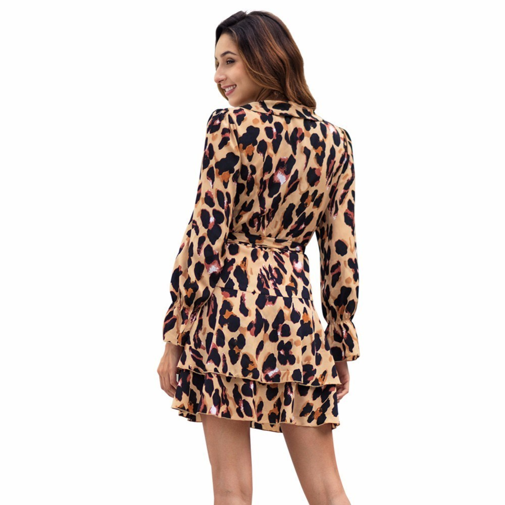af7b23cdb94fd Isiksus V Neck Ruffle Leopard Mini Dress Long Sleeve Women Sexy Dress Club  Wear Spring Autumn Lace Vintage Dress for Women DR147
