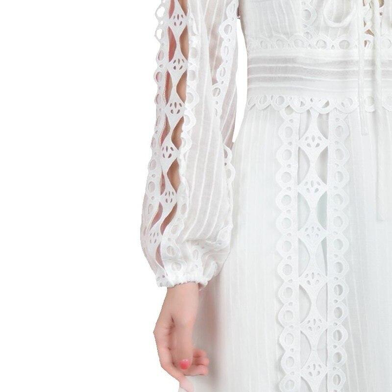 Creux Black Twotwinstyle Mini Manches Femmes Robes white 2019 Printemps Élégant Mode Longues Neck Robe Haute Féminine Lace V Out Pour Taille Up dRwqrAfR
