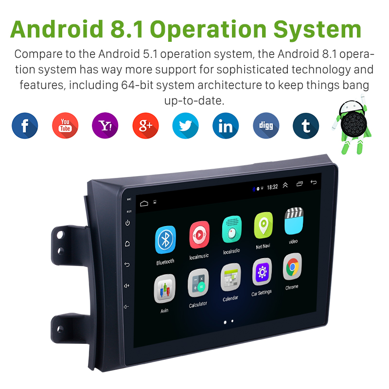 Autoradio Seicane pour 2006-2012 Suzuki SX4 Android 8.1 9 pouces 2Din HD écran tactile GPS lecteur multimédia Support Bluetooth WIFI - 2