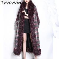 Tvvovvin 2019 Новинка весны женская одежда меховой воротник в стиле пэчворк клетчатое карман свободные длинные пальто теплая куртка R079