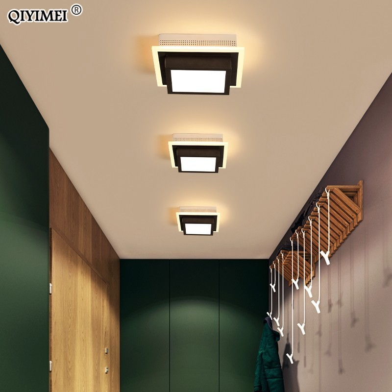 Us 35 0 49 Off Acrylic Modern Led Ceiling Lights For Corridor Entrance Of Home Lamp Plafonnier Luminaria Lamparas De Techo White Black Painted In