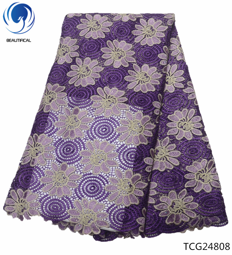 BEAUTIFICAL cord lace fabric 5 yards purple guipure lace for nigeria embroidery african lace fabric TCG248BEAUTIFICAL cord lace fabric 5 yards purple guipure lace for nigeria embroidery african lace fabric TCG248