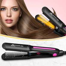 2 In 1 Professional Twist Hair Curling & Straightening Iron Straightener แห้งเปียกผม Flat Iron Hair Styler Tool dual - ใช้(China)