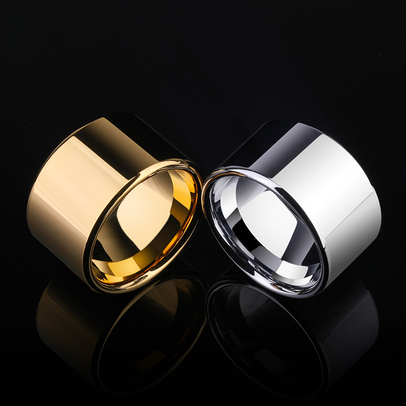 Customized Puck Style 14MM Width Tungsten Rings for Cool Man Hard Metal Ring Silver Gold With