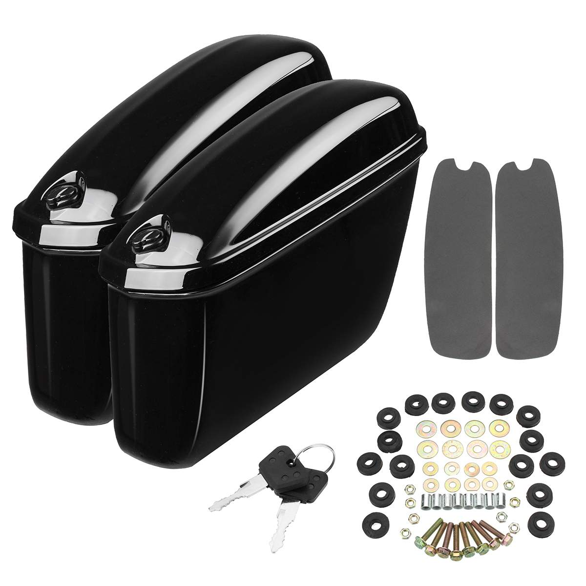 Pair Motorcycle Saddlebags Side Trunk Hard Box Storage Tool Pouch Luggage Bags for Harley Softail Sportster