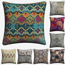 Floral Bohemian Mandala Pattern Decorative Cotton Linen Cushion Cover 45x45cm For Sofa Chair Pillow Case Home Decor Almofada цены