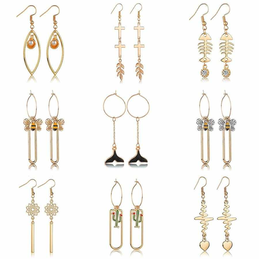 2019 Trendy  Elegant  Geometric  Long  Pendant  Women  Drop  Earrings  For  Women Girls  Fashion  Minimalism  Wedding  Earrings