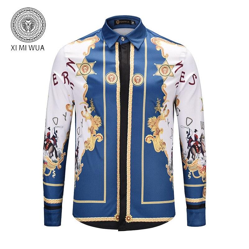 2019 Новое поступление модные мужские рубашки 3d Цветочный узор принт с длинным рукавом Гавайские рубашки повседневные Slim Fit Chemise Homme большой