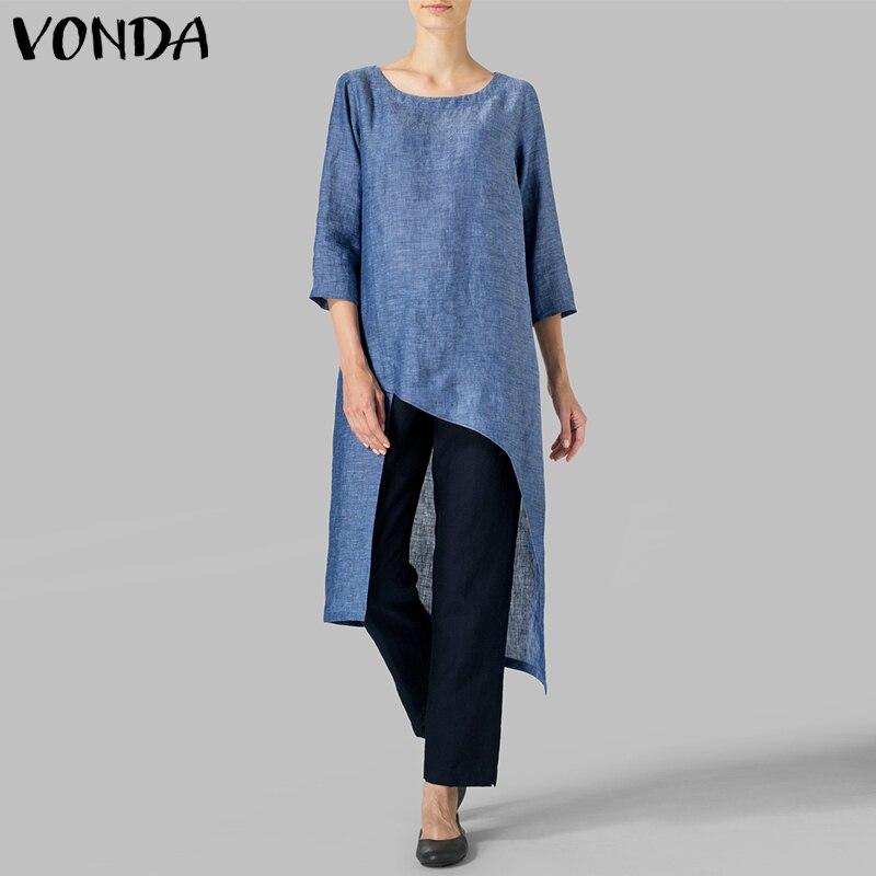 VONDA 2019 Spring Women Tops Sexy O Neck 3/4 Sleeve Casual Solid   Blouses     Shirts   Ladies Vintage Blusas Femininas Plus Size
