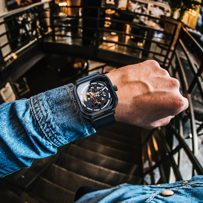 Luxury Top Brand NESUN Fashion Men Sport Watch Mechanical Wrist Watch Hollow Luminous Stainless Male Watches