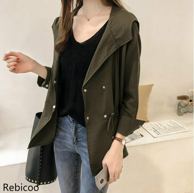 2019 Women's Loose Hoodie   Trench   Coat Medium Casual Long Sleeve Coat