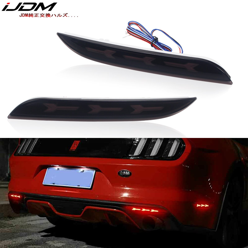 iJDM 3D Optic Style LED Bumper Reflector Lights Fog Lights For 2015 17 Ford Mustang Sequential
